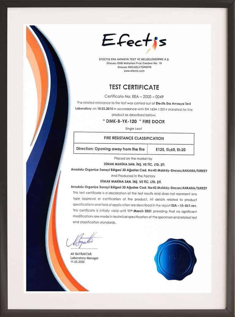 120 Minute Fire Rated Door Certificate