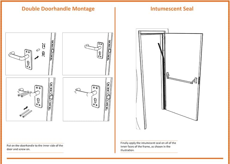 Double Fire Door Handle Installation - Intumescent Seal